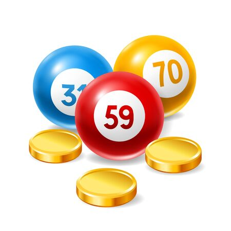 Bingo or lottery card with colored number balls and money. Background for gambling sport games.
