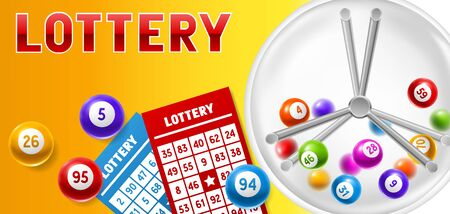 Lottery card with balls and lotto machine.