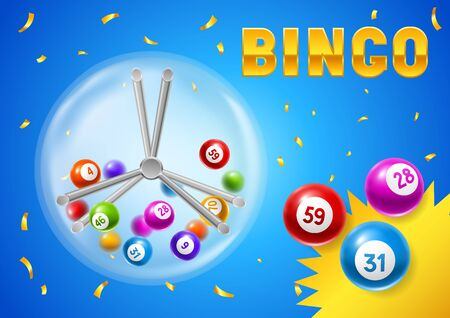 Bingo or lottery card with balls and lotto machine. Background for gambling sport games. Иллюстрация