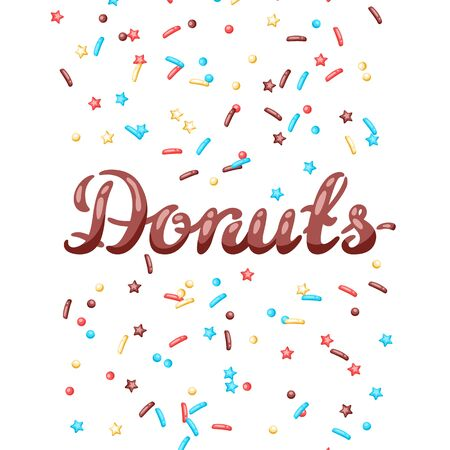 Card with decorative donut sprinkles. Background of donuts glaze. 写真素材 - 131728799