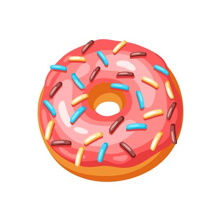 Illustration of glaze donut with sprinkles. Colored sweet pastry.  イラスト・ベクター素材