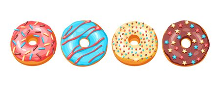 Set of glaze donuts and sprinkles. Illustration of various colored sweet pastries.  イラスト・ベクター素材