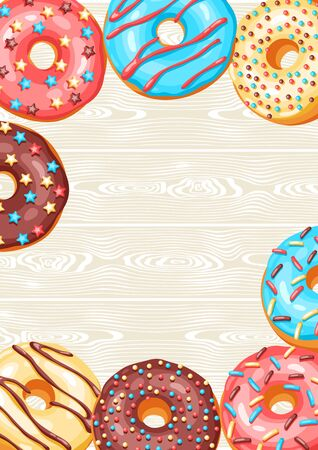 Card with glaze donuts and sprinkles. Background of various colored sweet pastries.