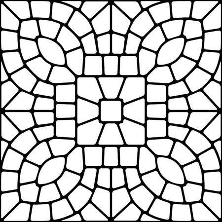 Ancient mosaic ceramic tile pattern. Decorative glass ornament. Abstract antique texture.  イラスト・ベクター素材