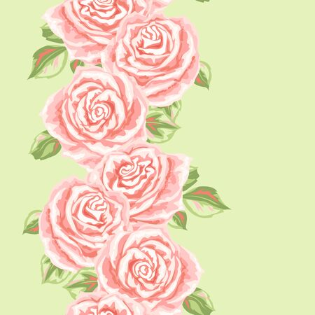 Seamless pattern with pink roses. Beautiful realistic flowers, buds and leaves.