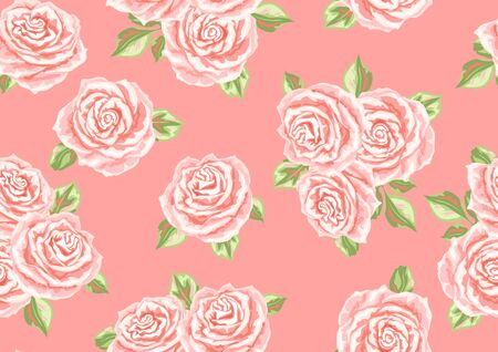 Seamless pattern with pink roses. Beautiful realistic flowers, buds and leaves. Vektorgrafik