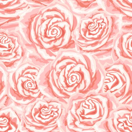 Seamless pattern with pink roses. Beautiful realistic flowers and buds.