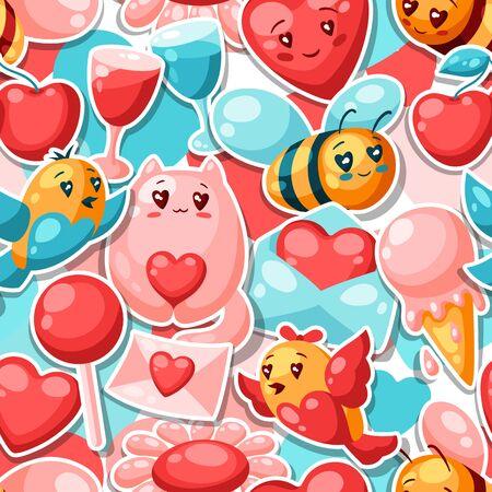 Feliz día de San Valentín de patrones sin fisuras. Ilustración kawaii con símbolos de amor. Ilustración de vector
