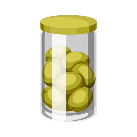Glass jar with canned olives. Isolated on white background