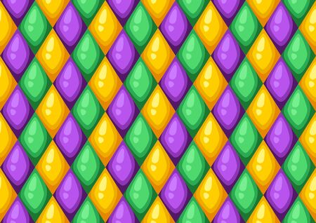 Seamless pattern with rhombus in Mardi Gras colors. Carnival background for traditional holiday or festival. Illustration