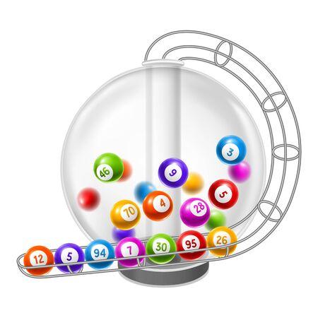 Lottery machine with balls inside. Lotto or bingo game wheel drum. Vektorové ilustrace