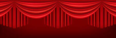 Cortinas rojas del escenario del teatro. Plantilla para representación teatral, sala de cine o presentación. Ilustración de malla detallada.