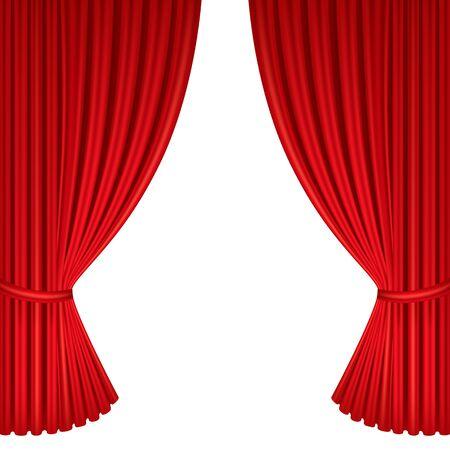 Czerwone zasłony sceny teatralnej. Szablon do przedstawienia teatralnego, kina lub prezentacji. Szczegółowa ilustracja siatki.