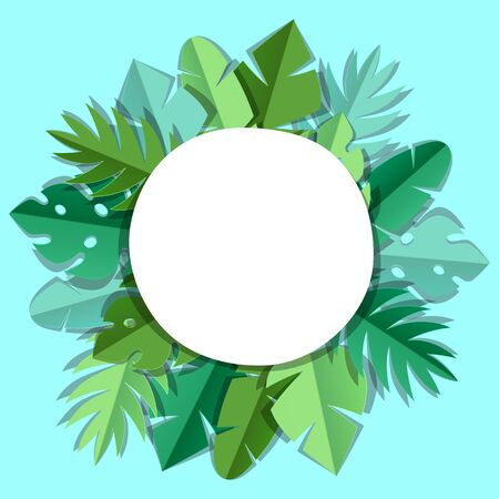 Background with paper palm leaves. Decorative image of tropical foliage and plants.