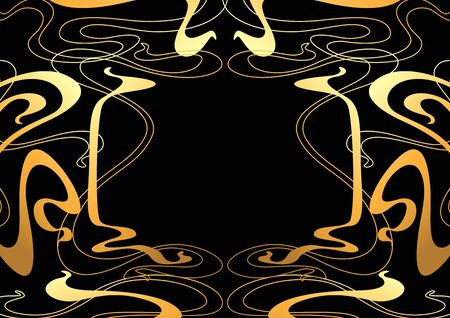 Frame with Art Nouveau ornament. Curl texture in vintage old retro style.