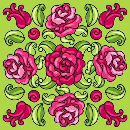 Mexican talavera ceramic tile pattern with flowers.