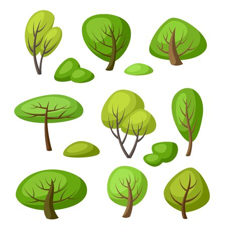 Set of spring or summer abstract stylized trees. Natural illustration.