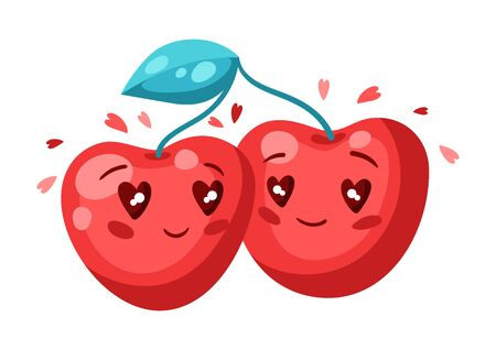 Cute couple of cherries in love. Valentine Day greeting card. Illustration of kawaii characters with eyes hearts.