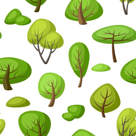 Spring or summer seamless pattern with stylized trees. Natural illustration.