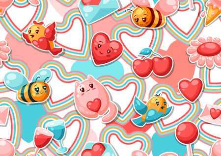 Happy Valentine Day seamless pattern.   illustration with love symbols. 向量圖像