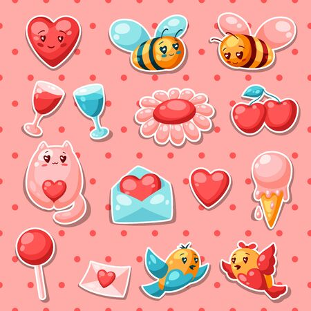 Happy Valentine Day set of stickers.   illustration with love symbols. 向量圖像