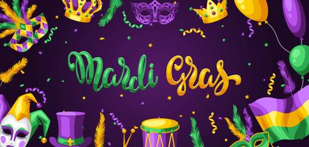 Mardi Gras party greeting or invitation card. Carnival background for traditional holiday or festival. Illusztráció