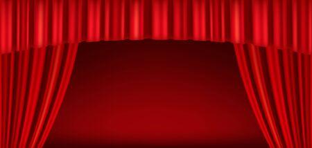 Tende rosse del palcoscenico teatrale. Modello per spettacoli teatrali, cinema o presentazioni. Illustrazione dettagliata della maglia.