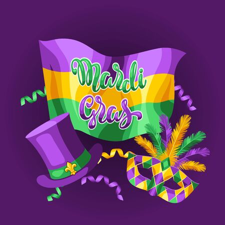 Mardi Gras party greeting or invitation card. Carnival background for traditional holiday or festival. Illustration