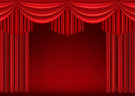Rideaux rouges de scène de théâtre. Modèle pour une représentation théâtrale, une salle de cinéma ou une présentation. Illustration détaillée de maillage.