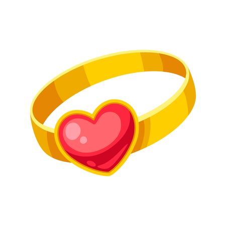 Valentines Day precious ring with heart. Illustrations in cartoon style.