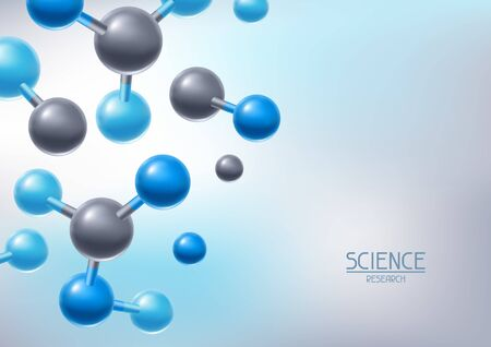 Background with abstract molecules or atoms. Science or medical molecular structure. Vetores