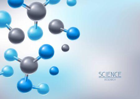 Tło z abstrakcyjnymi cząsteczkami lub atomami. Nauka lub medyczna struktura molekularna. Ilustracje wektorowe