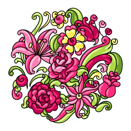 Background with roses and lilies. Beautiful decorative flowers, buds and leaves.