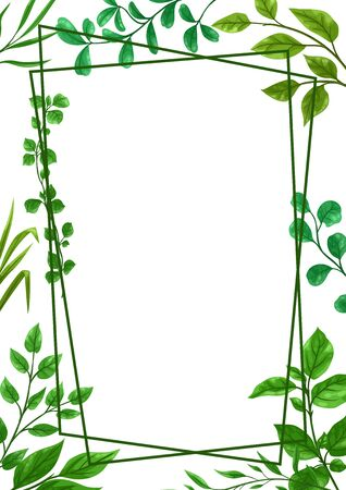 Frame of sprigs with green leaves. Decorative natural plants.
