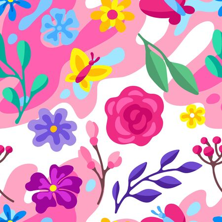 Seamless pattern with spring flowers. Beautiful decorative natural plants, buds and leaves. Ilustração
