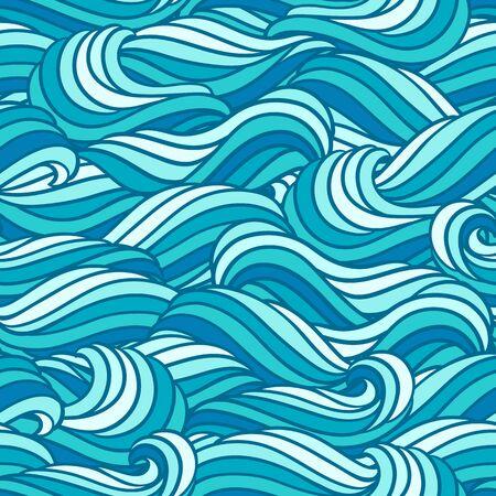 Modèle de vague sans couture. Fond avec la texture de la mer, de la rivière ou de l'eau. Fourrure ou cheveux abstraits à rayures ondulées.