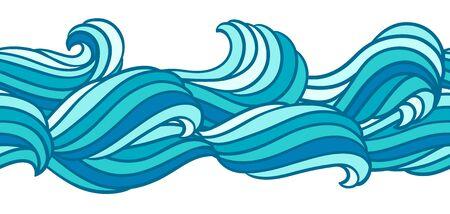 Modèle de vague sans couture. Fond avec la texture de la mer, de la rivière ou de l'eau. Fourrure ou cheveux abstraits à rayures ondulées. Vecteurs