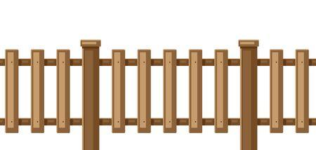 Illustration de clôture en bois blanc. Section de haie de jardin, de champ ou de cour.