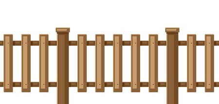 Illustration of white wooden fence. Garden, field or yard hedge section.