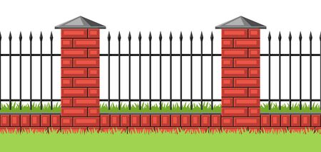 Illustration of bricks fence with forging. Garden, park or yard hedge section.