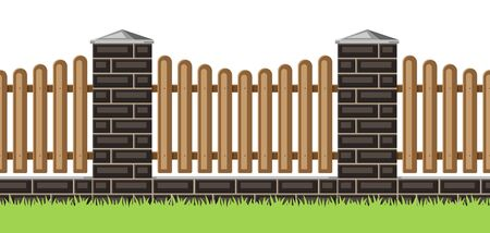 Illustration of bricks fence with wooden boards. Garden, park or yard hedge section.