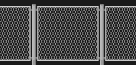 Illustration of wired chain link fence. Garden, park or yard hedge section.