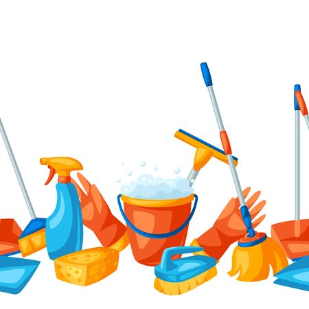 Housekeeping seamless pattern with cleaning items. Background for service, design and advertising.