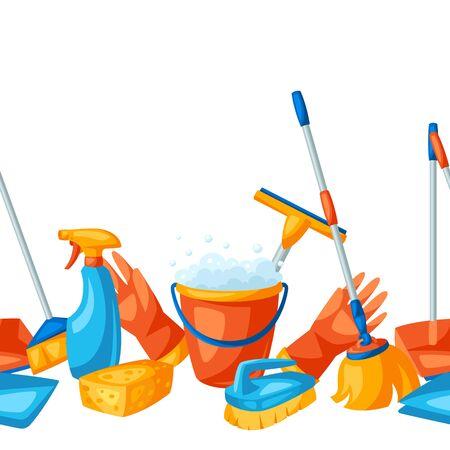 Nahtloses Muster der Haushaltsführung mit Reinigungsartikeln. Hintergrund für Service, Design und Werbung. Vektorgrafik