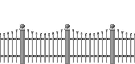 Illustration d'une clôture en métal forgé. Section de haie de jardin, de parc ou de cour.
