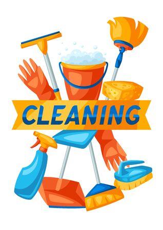 Housekeeping-Hintergrund mit Reinigungsartikeln. Illustration für Service, Design und Werbung.
