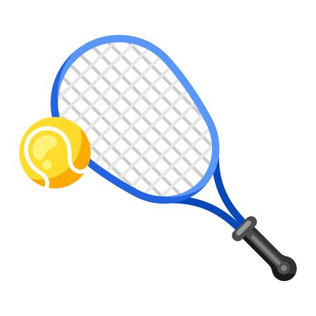 Icon of tennis racket and ball in flat style. Stylized sport equipment illustration. Foto de archivo - 138201203