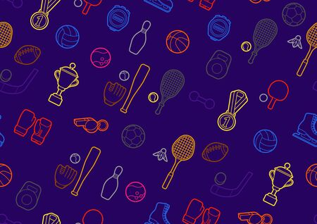 Seamless pattern with sport icons. Illustration