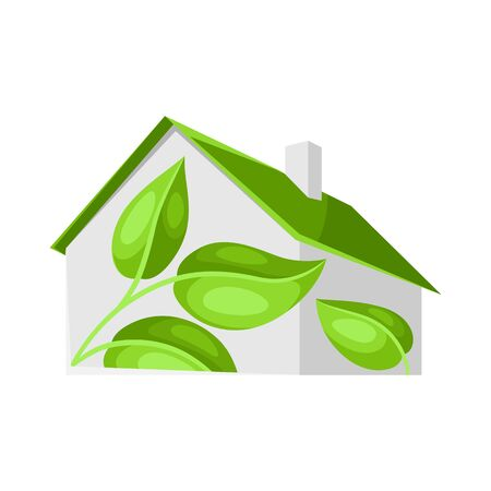 Green house concept illustration. Energy conservation and ecology natural materials. Archivio Fotografico - 139389546