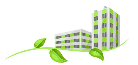 Green town concept illustration. Ecologically clean buildings in city.